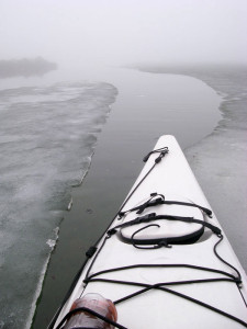 kayak in ice lead